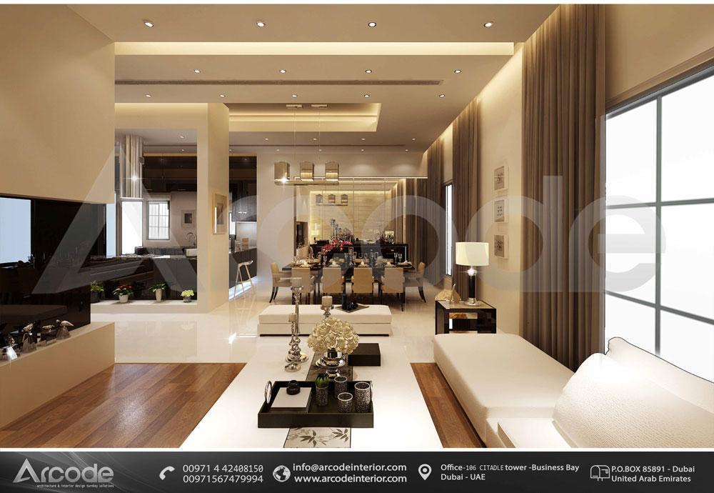 غرفة معيشة واسعة
